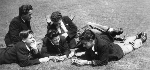 students on the school field in 1952